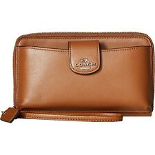 NWT Coach Universal Phone Wallet Smooth Leather Wristlet 55816B Saddle (Brown)