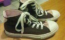 GIRLS CONVERSE PINK AND BROWN ANKLE TOP SHOES SIZE 2