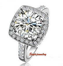 White Gold Plated Made with Swarovski Crystal Wedding Engagement Silver Ring R54