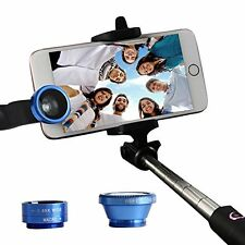 Blue Macro & Fisheye Wide Angle Photo Clip Lens For Mobile Phone Camera Set Kit