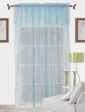 Blue Warp Knitting Lace Sheer Curtain With Valance 152cm x 228cm + 45cm