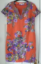 BODEN Multi Floral Silk Mix Bead Embellished Neck Shift Tunic Dress - Size 10