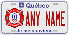 Quebec Fire Department Any Name Personalized Novelty Car License Plate