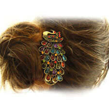 Retro Vintage Temperament Gorgeous Alloy Rhinestone Peacock Hairpin Hair Clip