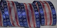 Wired Ribbon~Patriotic Star Stripe~Flag Blue~Sheer White~Red~Wreath~July~Bow