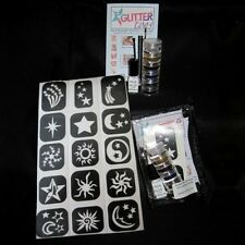 Glittertoos Glitter Tattoo Kit Sun Moon & Stars Set Stencils Glue Brushes Colors