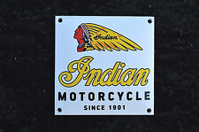 QUALITY ENAMEL INDIAN MOTORCYCLE SIGN PLAQUE VINTAGE STYLE GARAGE WALL SQUARE