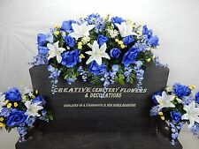 Double Cemetery Silk Flower Headstone/Tombstone Saddle + Matching Vase Bushes