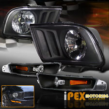 NEW For 2005-2009 Ford Mustang GT Coupe Black Headlights + Bumper Signal Lights