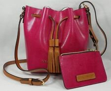 Dooney & Bourke Serena Crossbody Bucket Bag and Pouch SET Fuchsia Pink NWT