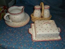 Older Austria Gmundner Dishes Salt Pepper Creamer Plate Covered Tray Dot Pattern