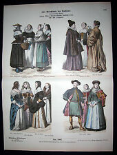 16th & 17th Century Women Dresses-Holland-Spain-France-Poland-Costumes & Fashion