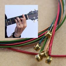 New One Set 6pcs Rainbow Colorful Color Strings For Acoustic Guitar Hot Fashion