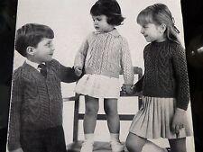 "Knitting Pattern Children Baby Girl Boy Cardigan Jumper Aran 20-26"" Vintage"