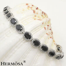 14PCS. AAA Abstract Black Onyx White Topaz 925 Sterling Silver Bracelets 7""