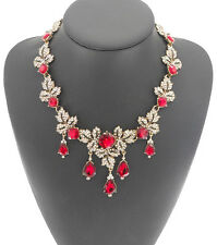 NEW ZARA BEAUTIFUL RED STONES SPARKLING CLEAR RHINESTONES NECKLACE NEW