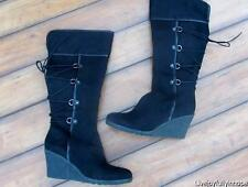 IMPO ~ Brand New in Box! Size 9.5 ~ Black VEGAN Faux Leather LACE UP Wedge Boots