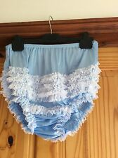 Sexy White With Blue Lace Rhumba,sissy AB, Hen's Night, Panties XXL