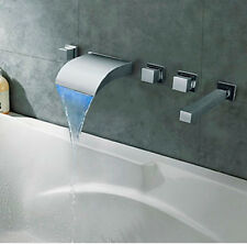 Wall Mounted LED Bathroom Waterfall Bathtub Faucet 3 Handles W/ Handheld Shower