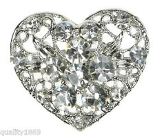 SILVER DIAMANTE HEART BROOCH VINTAGE PIN BRIDAL SHOE CAKE DECORATION- NEW - UK