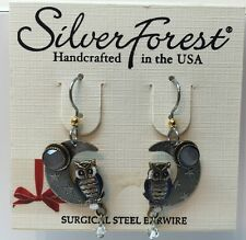 Silver Forest Beautiful Owl Sitting On Crescent Moon Hook Earrings Only Pair