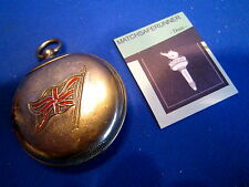C1890 POCKET WATCH & UNION JACK FLAG MATCH HOLDER VESTA CASE MATCH SAFE STRIKER