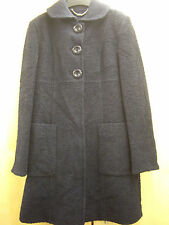 NEXT DARK NAVY BOUCLE WEAVE WOOL RICH BUTTON FRONT COLLAR COAT SIZE 12 BNWOT