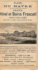 LE HAVRE HOTEL FRASCATI GRANVILLE HOTEL DU NORD COSTE PROPRIO PUBLICITE 1901