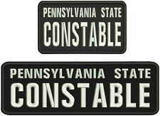 PA  state constable embroidery patches 3X9 and 3x5  hook on back BLACK/WHITE