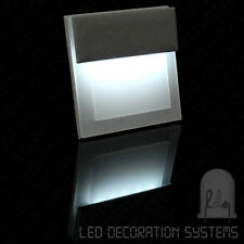 Grey Square Modern Indoor LED Wall Stair Sconce Light Lamp 230V 1W Cool White