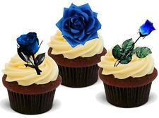 BLUE ROSE MIX 12 STAND UP Edible Cake Toppers Premium Wafer Roses Flowers Art