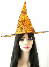 Orange & Black Spider Witch Hat Halloween Fancy Dress Costume Womens Girls S55