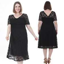 Plus Gorgeous Floral Short Sleeve Lace Bridesmaid Evening Vintage Dress Size 3X