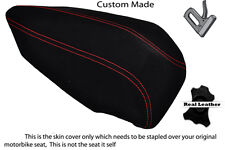 BLACK SUEDE RED STITCH CUSTOM FITS DUCATI PANIGALE 1199 REAR PILLION SEAT COVER