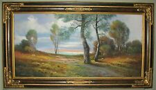 ANTIQUE ORIGINAL A.F. GLATTHAAR PASTEL COUNTRY LANDSCAPE WOOD & COMPO FRAME