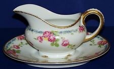 STUNNING LIMOGES FRANCE JEAN POUYAT GRAVY BOAT & UNDERPLATE ROSES FORGET-ME-NOT