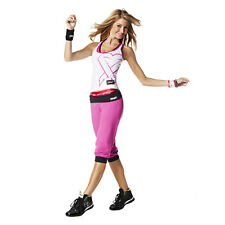 NEW ZUMBA Groove For the Cure Logo Stamp Capri & Tank Berry Pink Med Knee pants