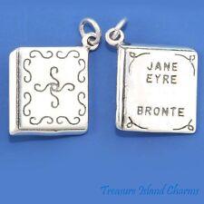 JANE EYRE CHARLOTTE BRONTE BOOK NOVEL 3D .925 Solid Sterling Silver Charm