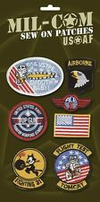 PACK OF US AIRFORCE BADGES 7 Top Gun army military sew on cloth patches on card
