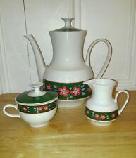 Winterling Marktleuthen Bavaria Retro Teapot Creamer and Sugar Set Red Flowers