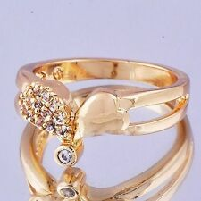 trendy 14K gold filled Cubic Zirconia Womens Heart wedding Ring Size 7