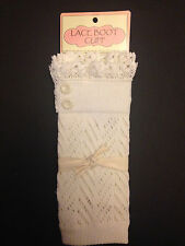 C.C Ladies-Crochet-Lace-Knitted-Boot-Cuffs-Toppers-Leg Warmers Ivory