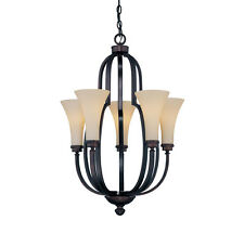Savoy House 1P-960-5-13 Chandelier with Amber Glass Shades,English Bronze Finish