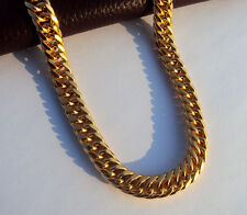 SOLID 14K YELLOW GOLD GF FINISH STAINLESS STEEL MIAMI CUBAN LINK CHAIN Necklace