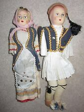2 Vintage Antique Cloth Dolls Pair Painted Face Boy and Girl Composition