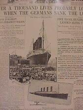 VINTAGE NEWSPAPER HEADLINE~GERMAN U2 BOAT SUB SINKS LUSITANIA SHIP WORLD WAR WWI