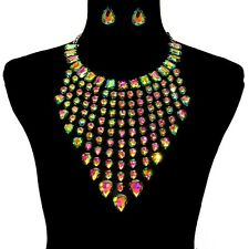 Chunky Iridescent Waterdrop Aurora Borealis Crystal Necklace Set w/Faux Backing
