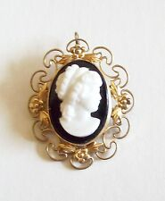Lovely Antique Gold Filled Cameo Pin Pendant With Floral Lacy Setting