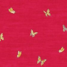 Wallpaper Designer Yellow Gold Blue Butterflies on Dark Red Faux
