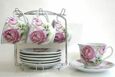 NEW 12 PC PORCELAIN SET ROSE FLOWER TEA,COFFEE MUG,CUP+SAUCER,PLATE+STAND+BOX